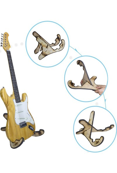 Donizetti Ahşap Klasik Akustik Elektro Gitar Standı - Natural