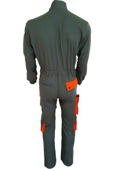 Simgeden İş Elbiseleri Boy Tulum Gri - Turuncu 48