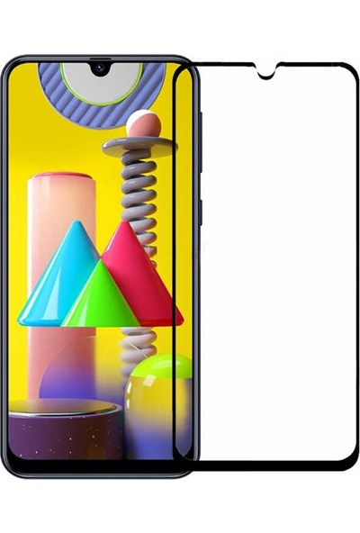 Case 4U Samsung Galaxy M31 Cam Tam Kaplayan Ekran Koruyucu Siyah