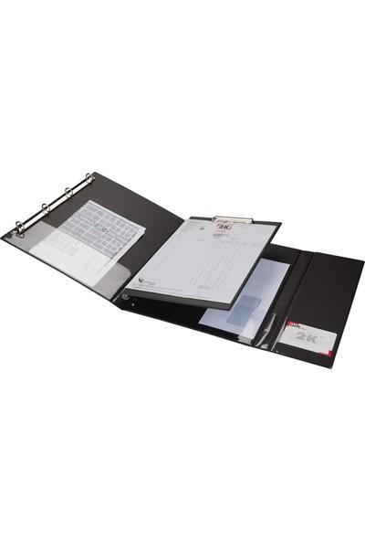 2K A4 Biala Fonksiyonel Öğrenci ve Ofis Tipi Evrak Sunum Klasörü 150 Yaprak 27 x 33 cm Siyah