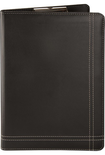 2K A4 Suni Deri Çizgi Dikiş Sekreter Blok Tablası Hesap Makinalı 100 Yaprak Siyah