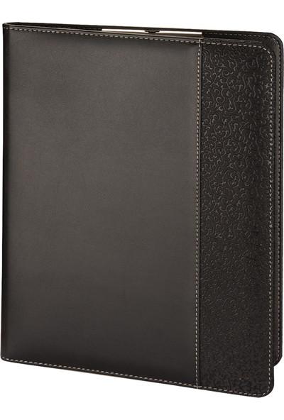 2K A4 Suni Deri Hilton Garni Sekreter Blok Tablası Hesap Makinalı 100 Yaprak Siyah