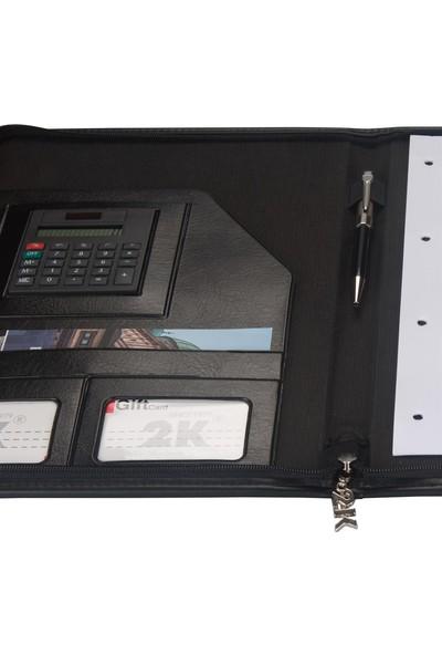 2K A4 Suni Deri Lüks Sekreter Blok Tablası Hesap Makinalı Fermuarlı 100 Yaprak Siyah