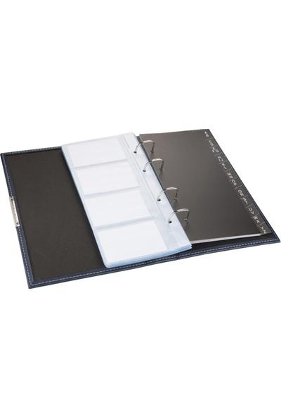 2K Suni Deri Mekanizmalı 4 Sıralı 192 Kart Kapasiteli Indeksli Kartvizitlik 16 x 26,5 cm Lacivert