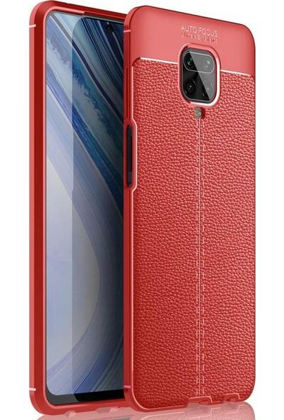 Happyshop Xiaomi Redmi Note 9 Pro Kılıf Deri Desenli Lux Niss Silikon + Cam Ekran Koruyucu Kırmızı