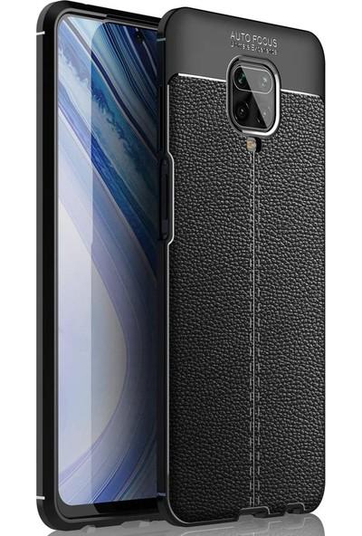 Happyshop Xiaomi Redmi Note 9 Pro Kılıf Deri Desenli Lux Niss Silikon + Cam Ekran Koruyucu Siyah
