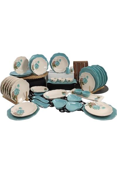 Keramika Turkuaz Gül 41 Parça 12 Kişilik Kahvaltı Takımı Turkuaz