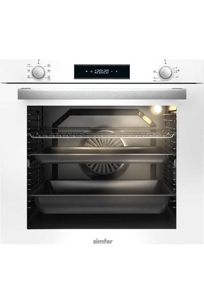 Simfer 80 lt XXL Beyaz Ankastre Set (7382 8 Fonksiyonlu ve Turbo Fanlı Fırın + 3651 Beyaz Cam Ankastre Ocak + 8612 Touch Kontrol - LED Lambalı Davlumbaz)