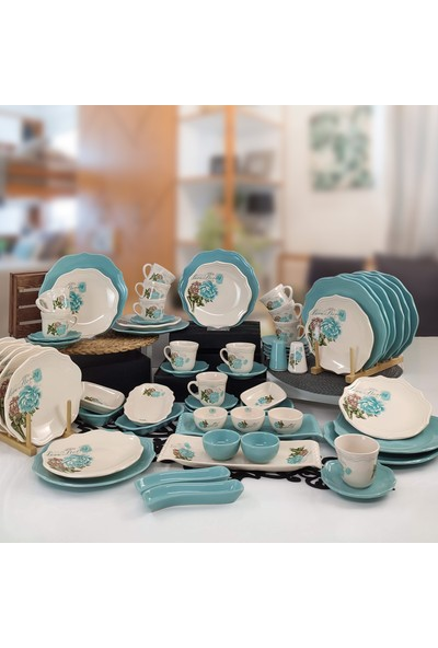 Keramika Turkuaz Gül 65 Parça 12 Kişilik Kahvaltı Takımı Turkuaz