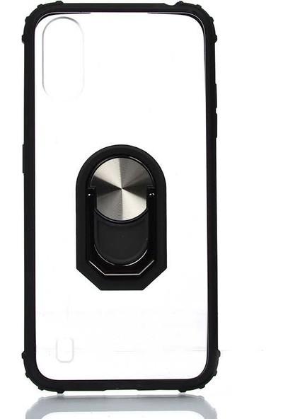 Tekno Grup Samsung Galaxy A01 Kılıf Ultra Korumalı Yüzüklü Standlı Mola Kapak + Nano Ekran Koruyucu Siyah