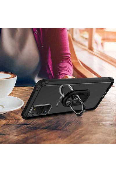 Tekno Grup Samsung Galaxy S20 Ultra Kılıf Ultra Korumalı Yüzüklü Standlı Mola Kapak + Tam Kaplayan 6D Polymer Nano Ekran Koruyucu Siyah
