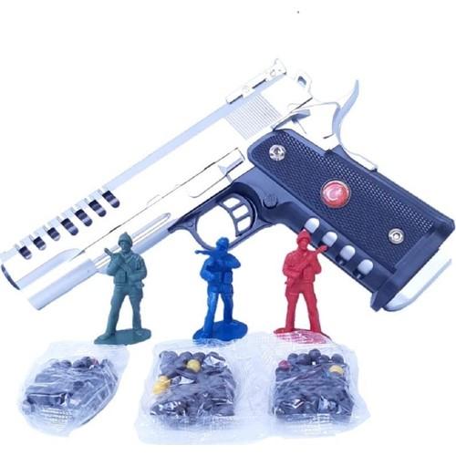 hippo bebe boncuk atan oyuncak plastik tabanca 3 paket plastik boncuk mermi 3 adet asker hedef