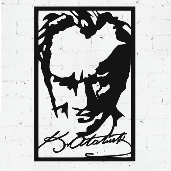 Payidarts Imzalı Atatürk Portre Lazer Kesim Metal Duvar Tablo 60 x 92 cm