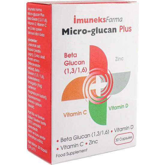 İmuneks Micro-Glucan Plus Beta Glukan Çinko D Vitamini C Vitamini 30 Kapsül