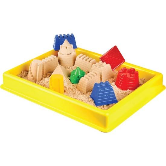 Hereos Kale Kinetik Oyun Kumu Seti - Oyun Havuzu + Kale Oyun Kalıpları + 4 Renk Kinetik Kum