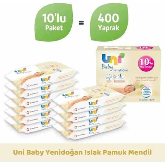 Uni Baby Yenidoğan Islak Pamuk Mendil 10'lu Avantajlı Mega Paket 400 Yaprak