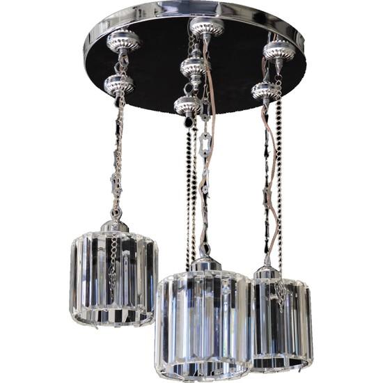 Sheycher Modern Üçlü Kristal Taşlı Sarkıt Salon Klasik Krom Avize