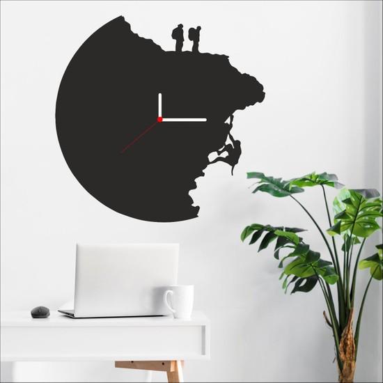 Algelsin Dekoratif Duvar Saati Mat Siyah Ahşap Mdf 50 x 50 cm Dağcı