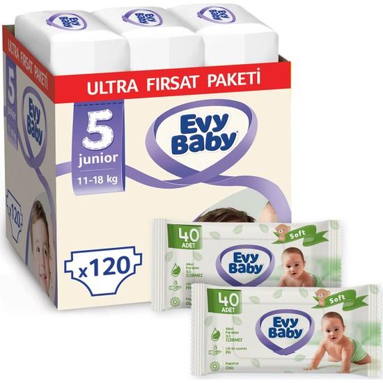 Evy Baby Bebek Bezi 5 Numara Junior 120'LI + 2 Paket Islak Hvl