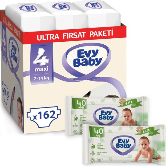 Evy Baby Bebek Bezi 4 Numara Maxi 162'LI + 2 Paket Islak Havlu