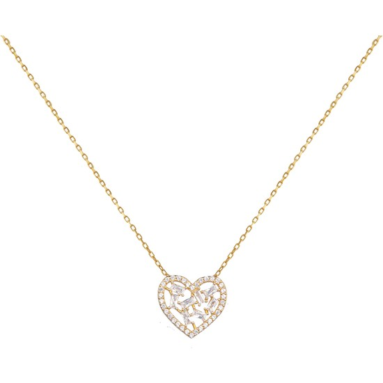 Dalman Si̇lver Taşlı Kalpli Gümüş Kolye