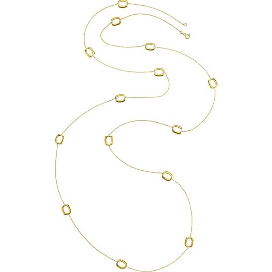 Dalman Si̇lver Bombeli Kare Ara Parçalı Uzun Zincirli Gümüş Kolye