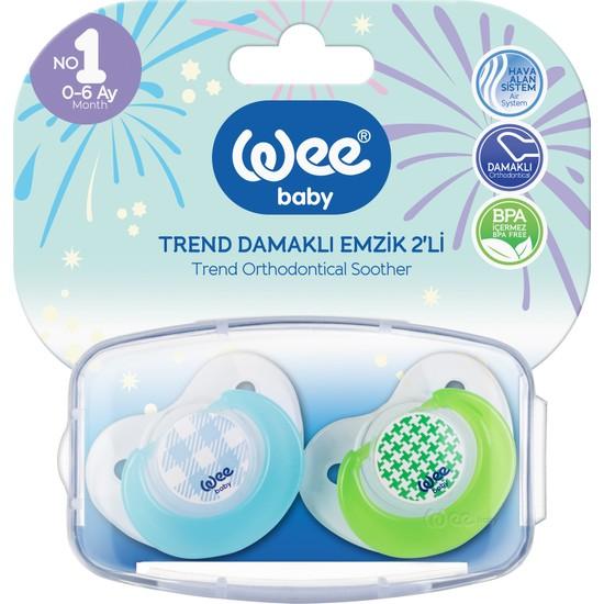 Wee Baby 2'li Trend Damaklı Emzik No:1 + Saklama Kabı - Mavi