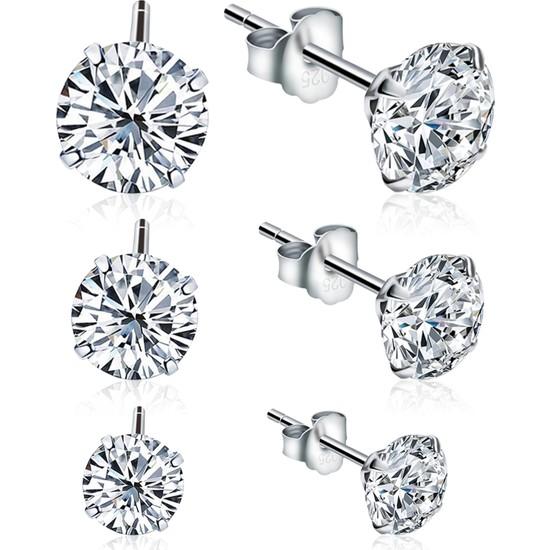 Jewelry For Light 3'lü Set 4 mm - 5 mm - 6 mm Tektaş Yuvarlak Kübik Zirkon Pimli Gümüş Küpe