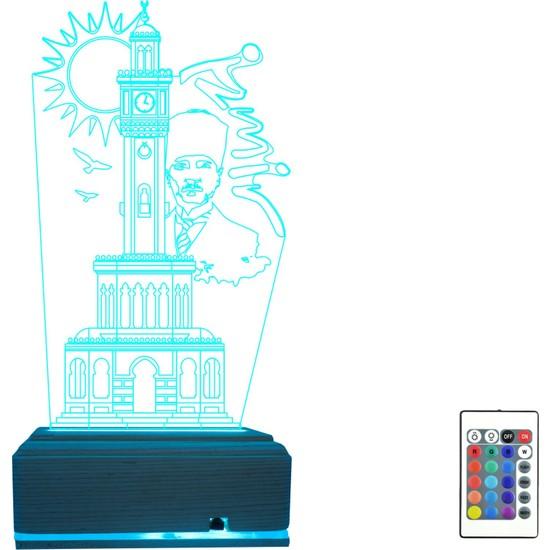 Algelsin Gece Lambası 3D LED 3 Boyutlu Izmir Saat Kulesi Tasarımlı Masal Lambası