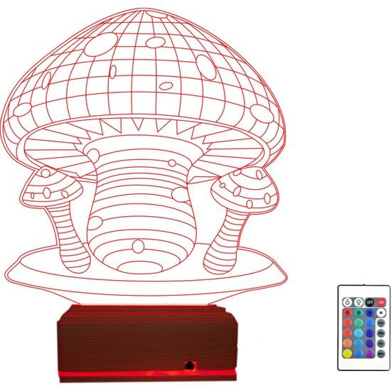 Algelsin Gece Lambası 3D Led Mantar Tasarımlı 16 Renkli Masa Lambası