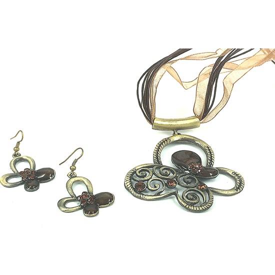 Aphrodite Accessories Kelebek Motifli Kolye Küpe Set