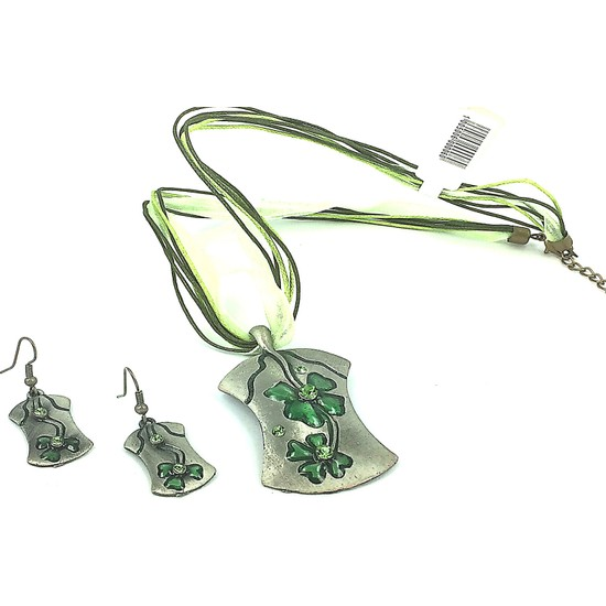 Aphrodite Accessories Metal Çiçek Desenli Kolye Küpe Set