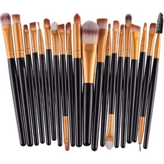 İzla 20'li Profesyonel Yumuşak Makyaj Fırça Seti Siyah Renk
