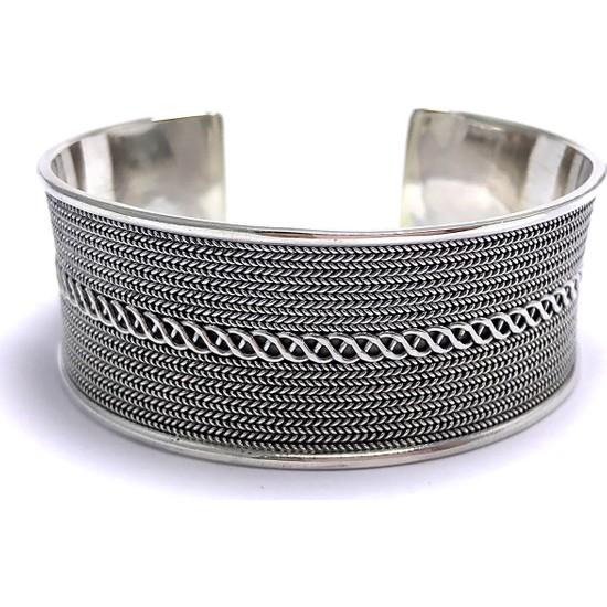 Midyat Nurtaş Gümüş Sarmal Işlemeli Ayarlanabilir 925 Ayar Unisex Gümüş Bilezik