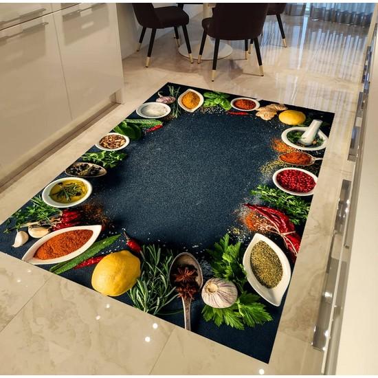 Evpanya Renkli Baharat Desen Mutfak Halısı