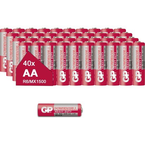 Gp 15E Powercell Çinko Karbon AA R6 E91 1.5V Kalem Pil 40'lı