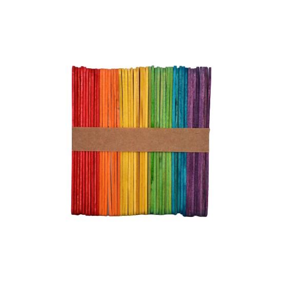 Homix Ahşap Dil Çubuğu Renkli Ince 50'li