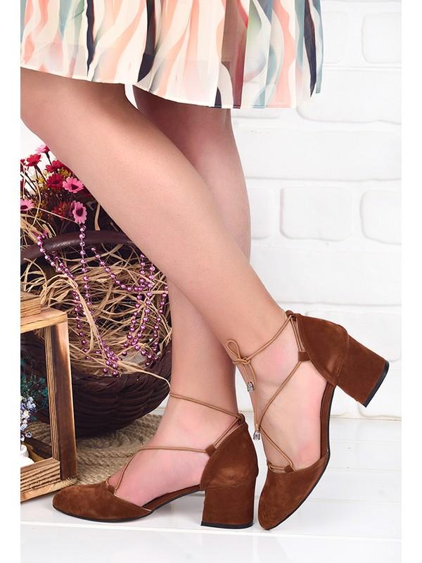 Ayakland 97544-1156 5 cm Topuk Kadın Süet Sandalet