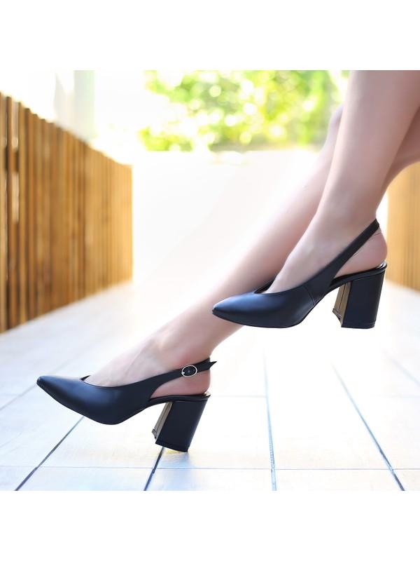 Sothe ECE-1028 Siyah Deri Kadın Klasik Kısa Topuklu Çapraz Bantlı Gece Abiye Günlük Ofis Kadın Ayakkabı