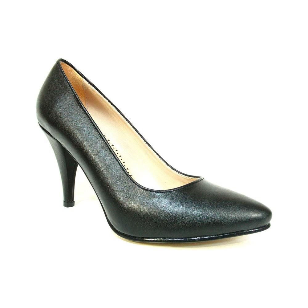 Zenay 1401 Siyah Deri Stiletto Bayan Ayakkabı  Ücretsiz Kargo