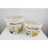 Cosıness Hasır Yuvarlak 2 Li Patates-Soğan Sepeti - Beyaz