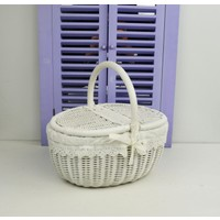 Cosıness Kulplu Oval Hasır Piknik Sepeti - Beyaz