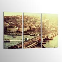 Turkuaz Dekoratif Eşit 3 Parçalı Mdf Tablo MP3202465