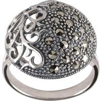 Akyüz Gümüş Asma Motifli Markazit Gümüş Yüzük Ym043