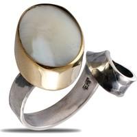 Akyüz Gümüş Sedef Taşlı Çekiç Dövme El İşi Gümüş Yüzük Yn018