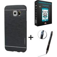 Case Man Samsung Galaxy S6 Kılıf Motomo Metal Kaplama + + Stylus Kalem 3lü Set