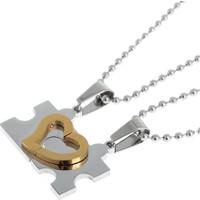 A-Leaf 2 Ad. Puzzle Kolye 316L Çelik Paslanmaz Kararmaz Solmaz Sevgili Kolyesi Gold