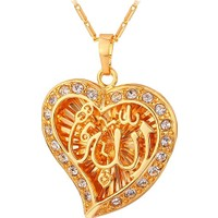A-Leaf Kalp İçinde Allah Yazılı 18K Altın Kaplama Bayan Kolye Zirkon Taşlı