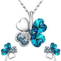 A-Leaf 4 Yaprak Yonca Kolye Küpe Set Bayan Kolye Set Şans Aşk Umut İnanç Sembolü Mavi