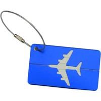 Travel Air Mavi Metal Valiz Etiketi Bagaj Kimlik Etiketi Aluminyum Plaka Paslanmaz Çelik Bağlantı İpi Tasarım Etiket